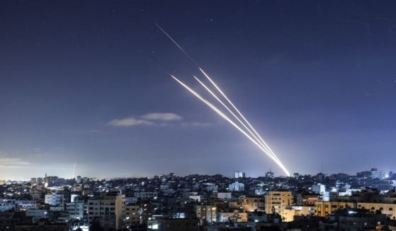 Several rockets are launched toward Israel from Gaza City, controlled by Hamas, on Tuesday.