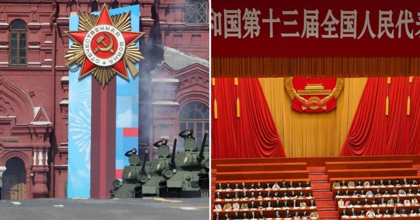 The Victory Day Parade at Red Square, left, is pictured in Moscow, Russia, on Friday; The Second Plenary Meeting of the National People's Congress at The Great Hall of People is underway on May 25, 2020, in Beijing, China.
