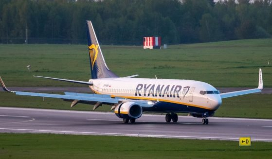 In this May 23, 2021, file photo, a Ryanair jet that carried opposition figure Raman Pratasevich was diverted to Minsk, Belarus, after a bomb threat.