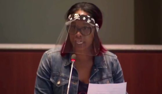 Shawntel Cooper speaks about critical race theory at a school board meeting in Loudoun County, Virginia.