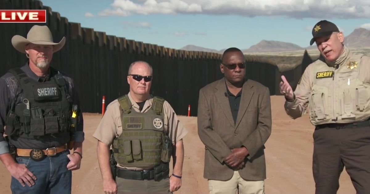 Sheriffs Mark Lamb, far left, and Mark Dannels, middle left, from Arizona, along with Illinois Sherrif Tony Childress, middle right, and North Carolina Sheriff Sam Page, far right, speak with Fox News concerning the crisis at the U.S.-Mexico border.