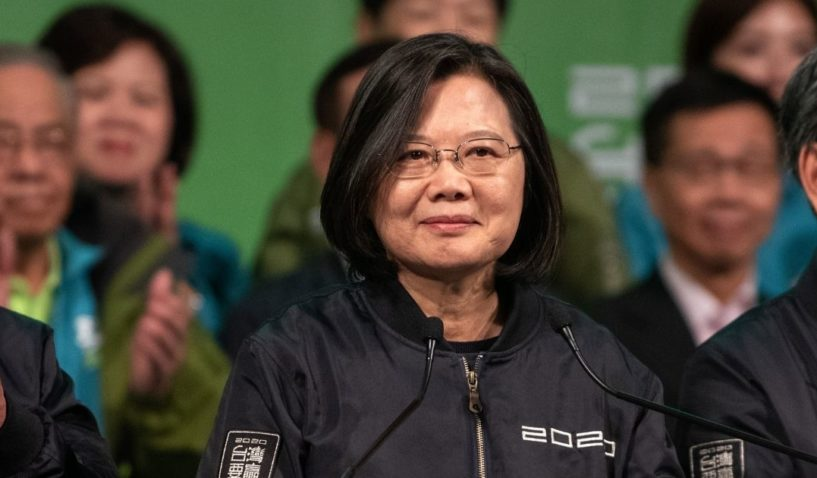 Tsai Ing-Wen addresses supporters after being re-elected as president of Taiwan on Jan. 11, 2020, in Taipei, Taiwan.