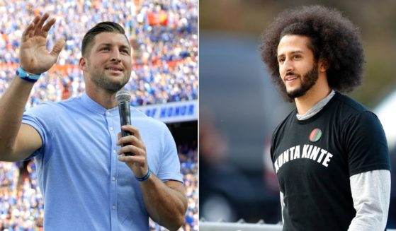 At left, former Florida Gator Tim Tebow speaks to fans after he was inducted in the Ring of Honor at Florida Field in Gainesville on Oct. 6, 2018. At right, Colin Kaepernick arrives for a workout for NFL football scouts and media in Riverdale, Georgia, on Nov. 16, 2019.