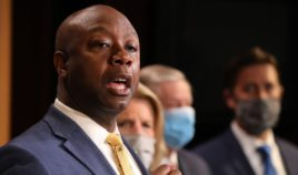 Republican Sen. Tim Scott of South Carolina is joined by fellow Republican lawmakers for a news conference to unveil the GOP's legislation to address racial disparities in law enforcement at the U.S. Capitol on June 17, 2020, in Washington, D.C.