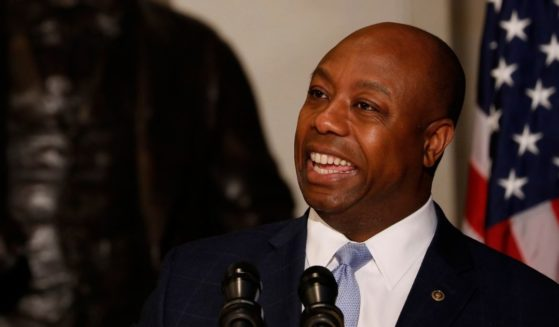 Republican Sen. Tim Scott of South Carolina speaks at an event honoring the bicentennial of Frederick Douglass' birth on Capitol Hill on Feb. 14, 2018, in Washington, D.C.