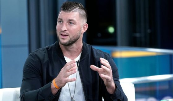 "Tim Tebow visits ""Fox & Friends"" at Fox News Channel Studios on Oct. 9, 2019, in New York City."