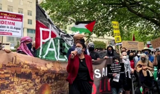 "Michigan Democratic Rep. Rashida Tlaib speaks at a ""Free Palestine"" rally in Washington on Wednesday."