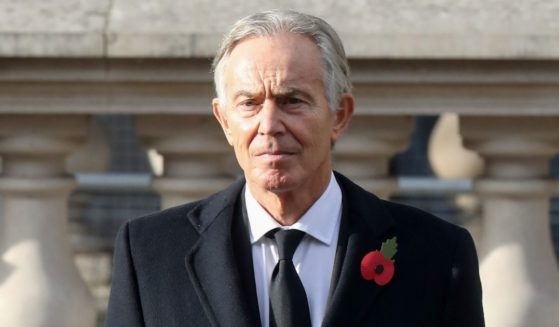 Former British Prime Minister Tony Blair is pictured during the National Service of Remembrance at The Cenotaph on Nov. 8, 2020, in London.