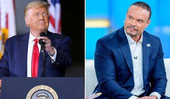 Former President Donald Trump, left, will be joining conservative commentator Dan Bongino, right, on Monday during his first national radio broadcast following the death of conservative radio host Rush Limbaugh.