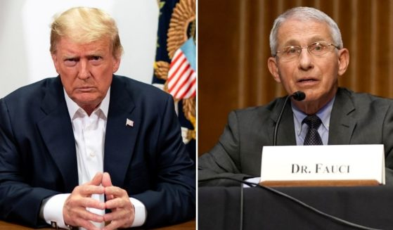 Former President Donald Trump, left, participates in a phone call with members of his administration in Bethesda, Maryland, on Oct. 4, 2020; Director of the National Institute of Allergy and Infectious Diseases Dr. Anthony Fauci, right, speaks during a Senate committee hearing on Tuesday in Washington, D.C.
