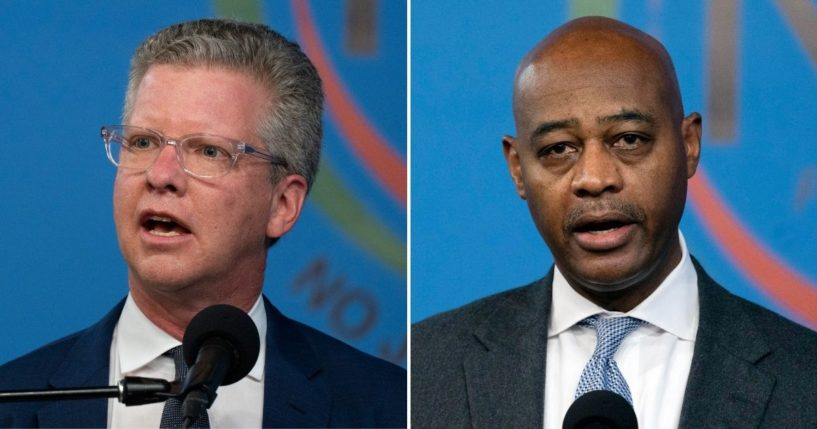 New York City mayoral candidates Shaun Donovan, left, and Ray McGuire, right, speak during a news conference at the National Action Network in New York on March 18, 2021.