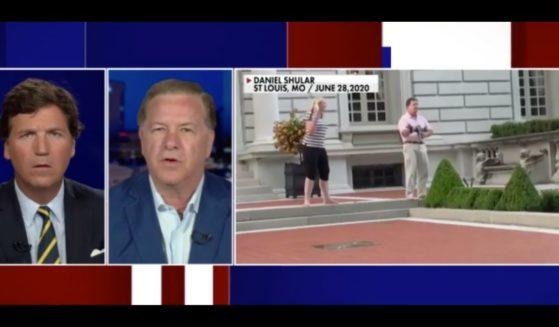 Mark McCloskey appears with Tucker Carlson on Fox News on Tuesday.