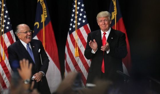 Former New York City Mayor Rudy Giuliani introduces then-Republican presidential candidate Donald Trump at a rally on Aug. 18, 2016, at the Charlotte Convention Center in Charlotte, North Carolina.