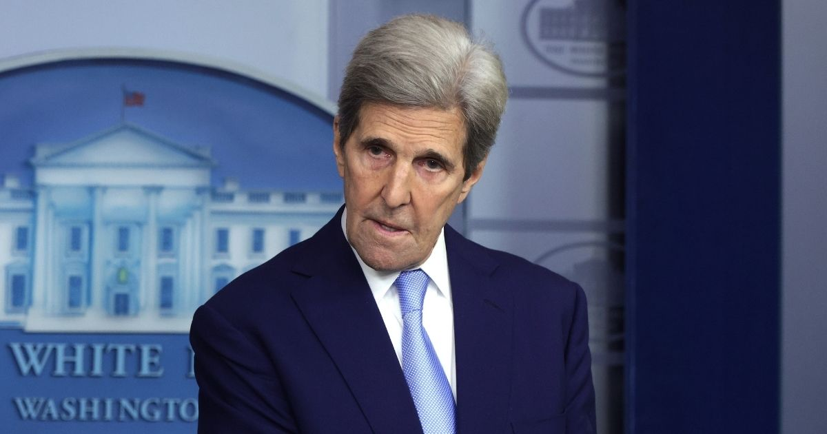Former Secretary of State John Kerry, now President Joe Biden's special envoyfor climate, is pictured at an April 22 news briefing at the White House.