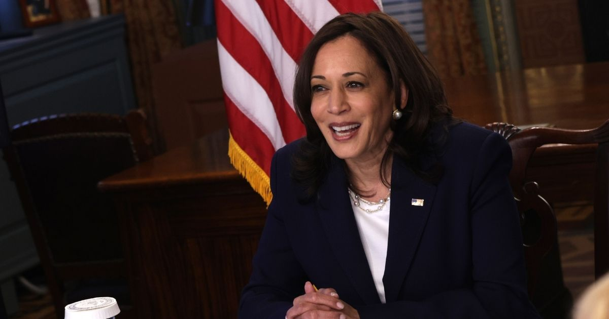 Vice President Kamala Harris conducts a virtual meeting on Monday with Guatemalan President Alejandro Giammattei in the Eisenhower Executive Office Building in Washington.