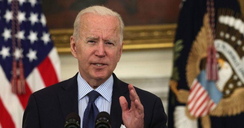 President Joe Biden speaks at the White House on Tuesday.