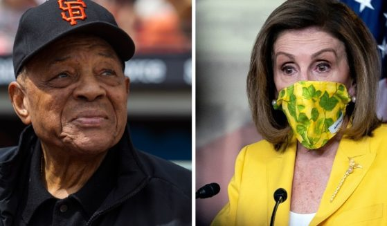 Baseball legend Willie Mays in a 2016 file photo, left; House Speaker Nancy Pelosi, right.