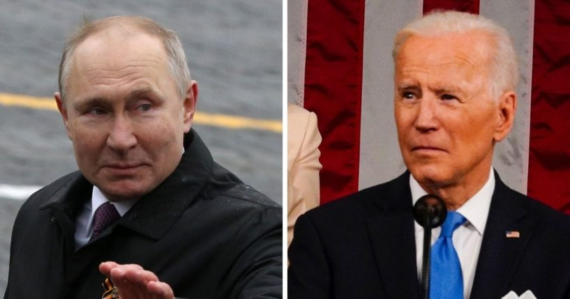 Russian President Vladimir Putin, left; and President Joe Biden, right.