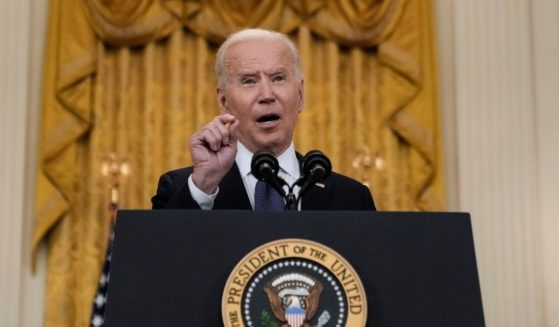 President Joe Biden speaks in the White House on Monday.