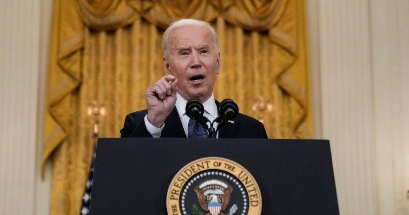 President Joe Biden speaks in the White House on Monday.