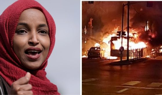 U.S. Rep. Ilhan Omar, left; a burning bus hit by a rocket in Israel, right.