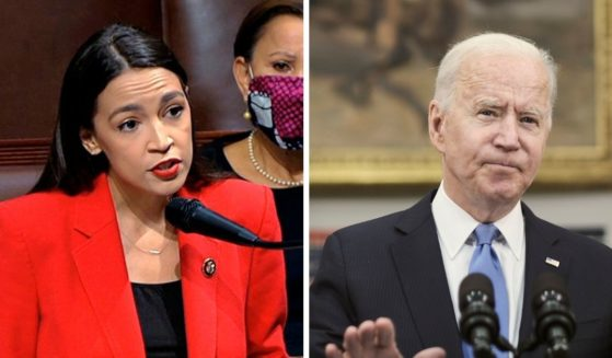U.S. Rep. Alexandria Ocasio-Cortez, left; President Joe Biden, right.