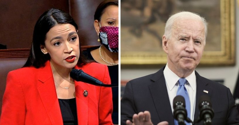 U.S. Rep. Alexandria Ocasio-Cortez, left; President Joe Biden, right.