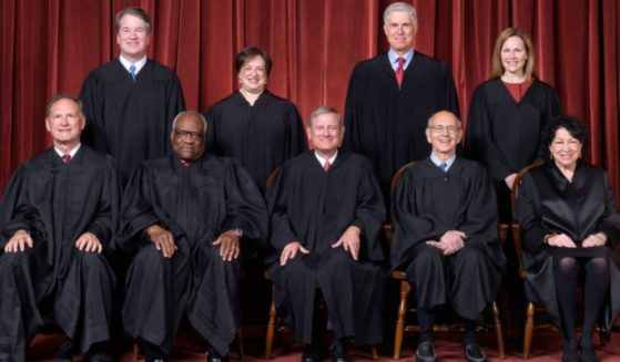 The U.S. Supreme Court, as composed from Oct. 27, 2020, to present. Front row, left to right: Associate Justice Samuel A. Alito, Jr., Associate Justice Clarence Thomas, Chief Justice John G. Roberts, Jr., Associate Justice Stephen G. Breyer, and Associate Justice Sonia Sotomayor. Back row, left to right: Associate Justice Brett M. Kavanaugh, Associate Justice Elena Kagan, Associate Justice Neil M. Gorsuch, and Associate Justice Amy Coney Barrett.