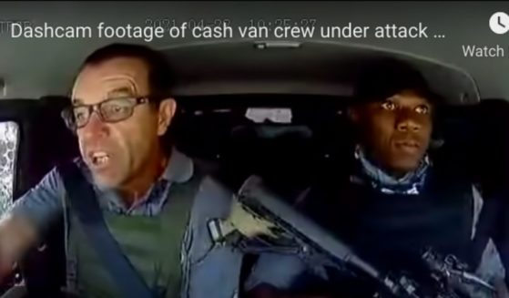 Dash-cam footage from an armored security van shows Lee Prinsloo and Lloyd Mthombeni responding to an attempted heist by robbers wielding automatic weapons in South Africa in May 2021.
