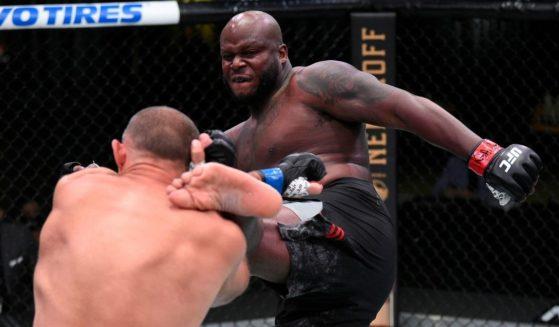 UFC fighter Derrick Lewis kicks Aleksei Oleinik of Russia during a heavyweight fight in Las Vegas in August.