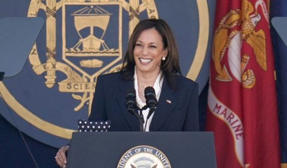 Vice President Kamala Harris speaks Friday at the graduation and commission ceremony at the U.S. Naval Academy in Annapolis, Md.