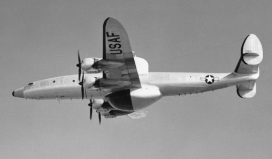 A US Air Force Lockheed RC-121C (a modified version of the Lockheed Super-Constellation) is seen in flight on June 21, 1954.