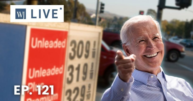 At right, then-Democratic presidential candidate Joe Biden speaks in Philadelphia on May 18, 2019. At left is a sign showing high gas prices.