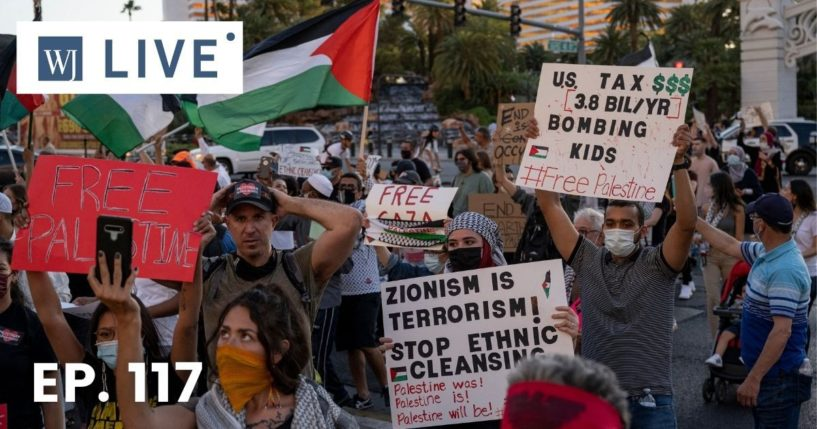 Pro-Palestine protesters rally outside The Venetian hotel and casino along the Strip in Las Vegas on Saturday.