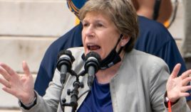 Randi Weingarten, president of American Federation of Teachers, speaks at the Lincoln Memorial during the March on Washington on Aug. 28.