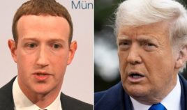 At left, Facebook founder and CEO Mark Zuckerberg speaks in Munich, Germany, on Feb. 15, 2020. At right, then-President Donald Trump talks to reporters outside of the White House in Washington on Oct. 27, 2020.