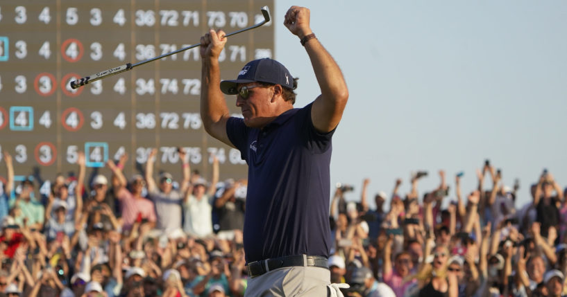 Phil Mickelson celebrates after winning the final round of the PGA Championship on the Ocean Course at Kiawah Island, South Carolina, on Sunday.