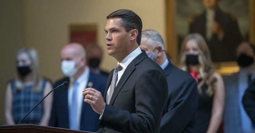 Lt. Gov. Geoff Duncan speaks during a news conference held by Gov. Brian Kemp at the Georgia State Capitol in Atlanta on March 22, 2021.