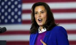 Michigan Gov. Gretchen Whitmer speaks in Southfield, Michigan, on Oct. 16, 2020.