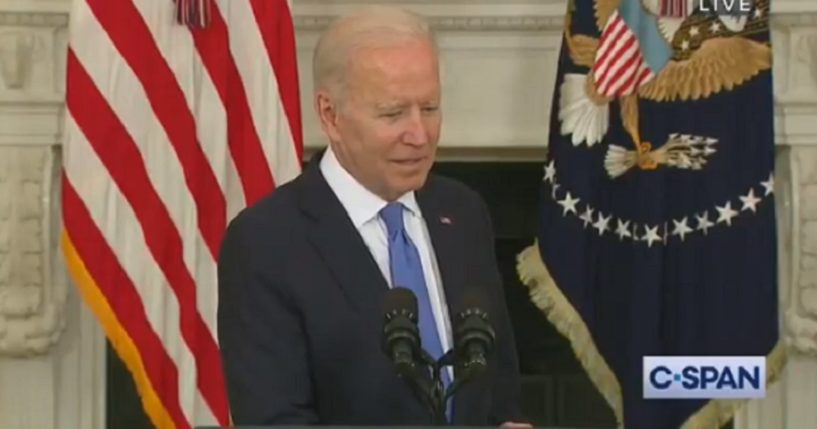 President Joe Biden pauses while answering a question about Senate Minority Leader Mitch McConnell Wednesday at the White House.
