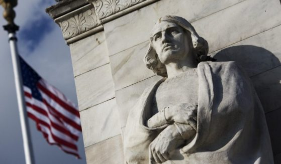 A statue of Christopher Columbus is seen at Columbus Circle in Washington, D.C., on Oct. 6, 2007.