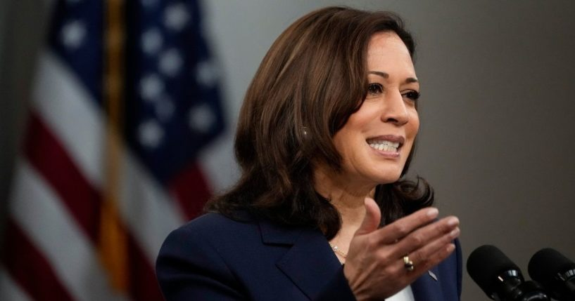 Vice President Kamala Harris delivers remarks to the Washington Conference on the Americas at the White House on May 4, 2021, in Washington, D.C.