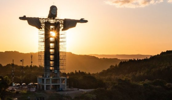 An aerial view of the Christ The Protector Statue which is under construction can be seen on April 20, 2021, in Encantado, Brazil.