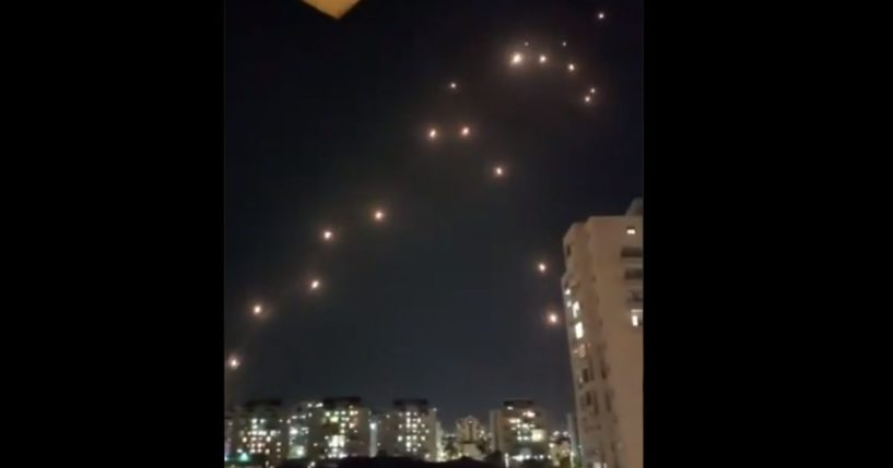 Rockets fall near Petach Tikvah, Israel, as the Iron Dome system intercepts.
