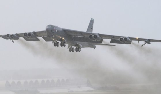 B-52 Stratofortress taking off.