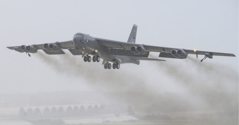 B-52 Stratofortress taking off.