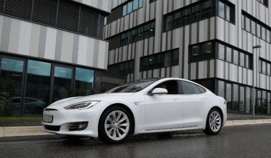 A Tesla car drives on Sept. 1, 2020, in Tubingen, Germany.