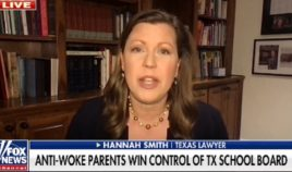 "Hannah Smith, a victorious candidate in a Saturday school board election in Texas, is interviewed by ""Fox & Friends"" Tuesday."