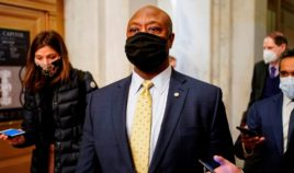 Sen. Tim Scott departs after the second day of former President Donald Trump's impeachment trial on Capitol Hill on Feb. 10, 2021, in Washington, D.C.