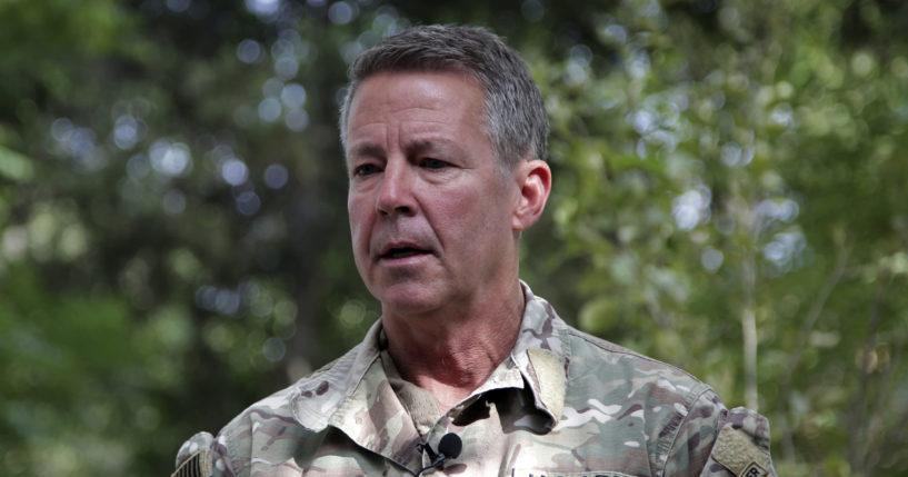 Gen. Austin S. Miller, the top U.S. general in Afghanistan, speaks to journalists in Kabul, Afghanistan, on Tuesday.